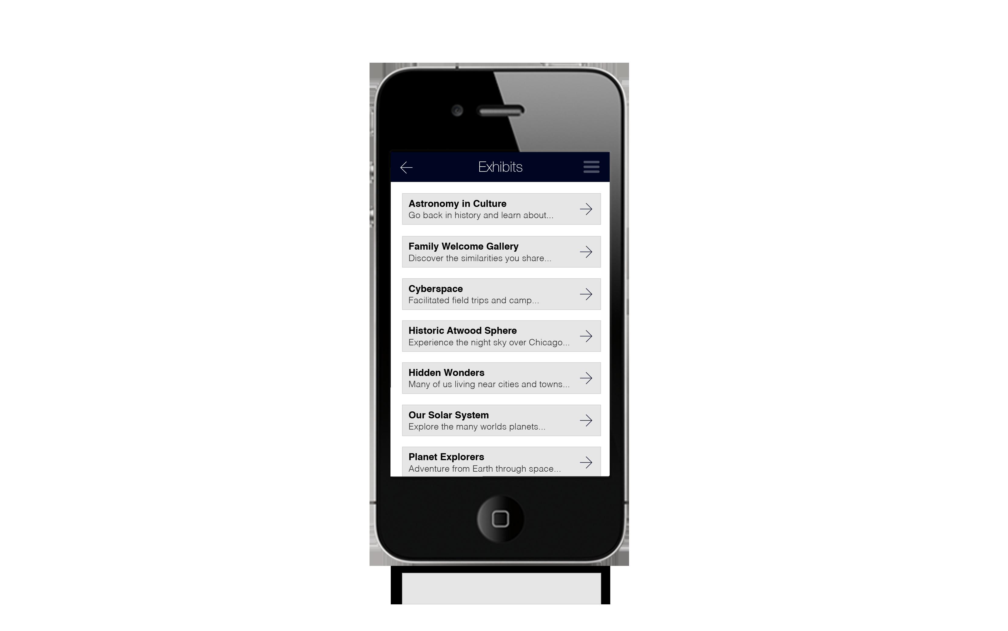Museum App Design List