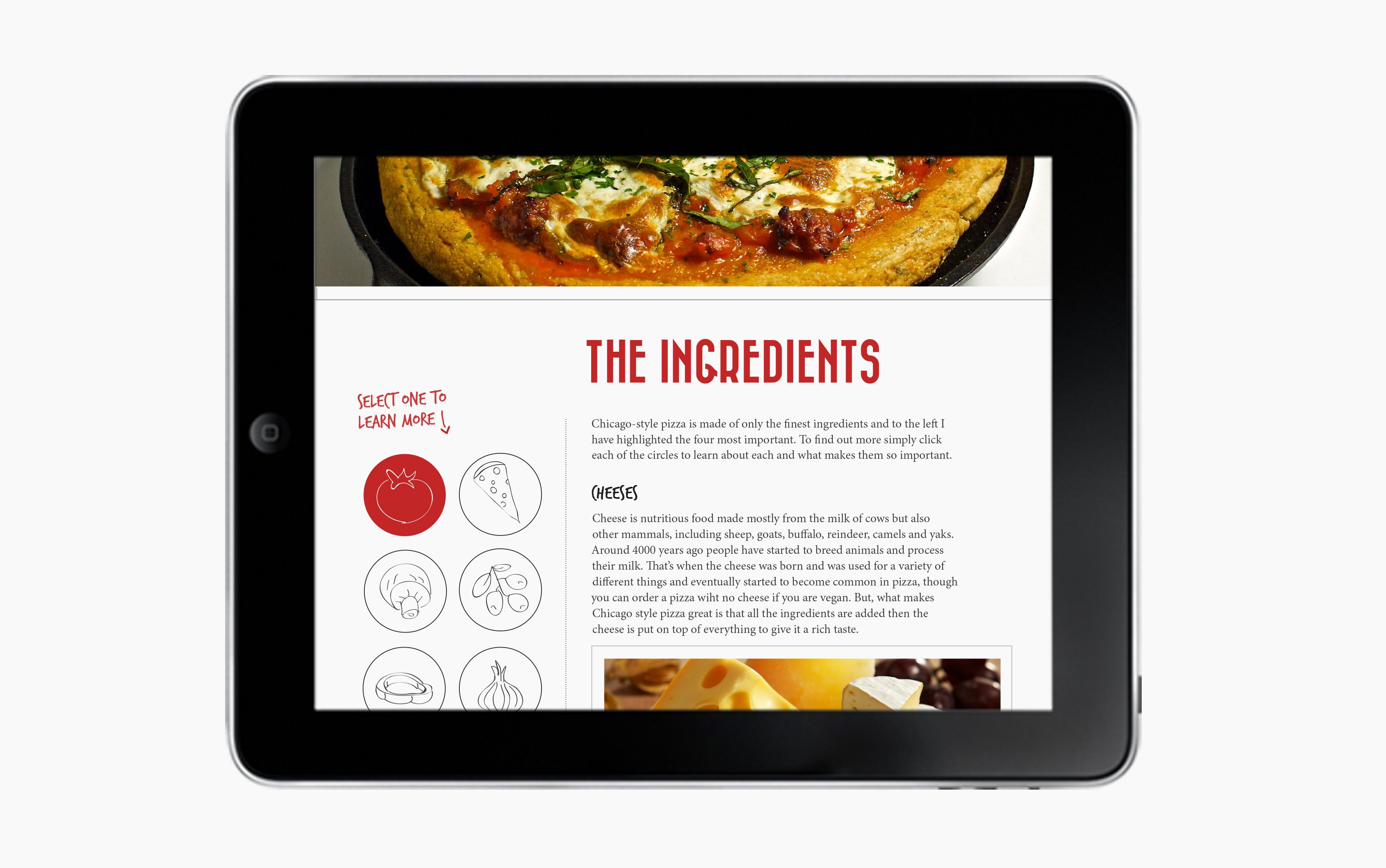 iPad Pizza Ingredients